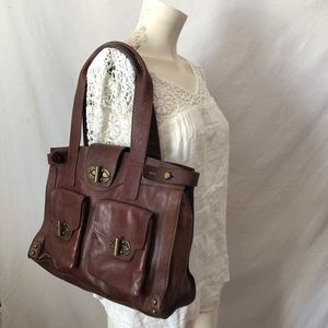 Tarnish boutique boho brown leather tote bag
